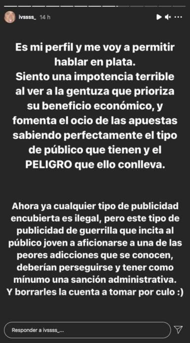 Iván Martín indignado con una influencer