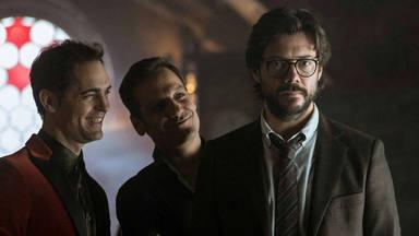 Pedro Alonso, Rodrigo de la Serna y Álvaro Morte en 'La casa de papel 3'