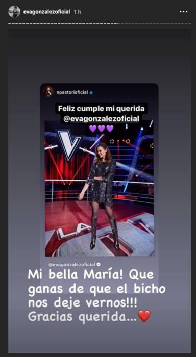 Felicitaciones en stories a Eva González