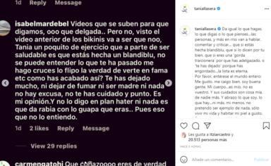 Tania Llasera, muy rotunda, responde a las agresiones verbales en redes: Que si eres una gorda traicionera
