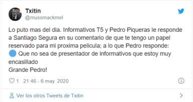 Twitter se enciende con Pedro Piqueras y Santiago Segura