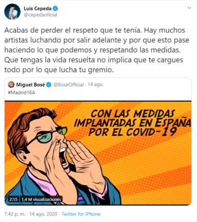 Twitter: Luis Cepeda y Miguel Bosé coronavirus