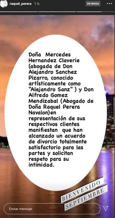 Alejandro Sanz Raquel Perera divorcio