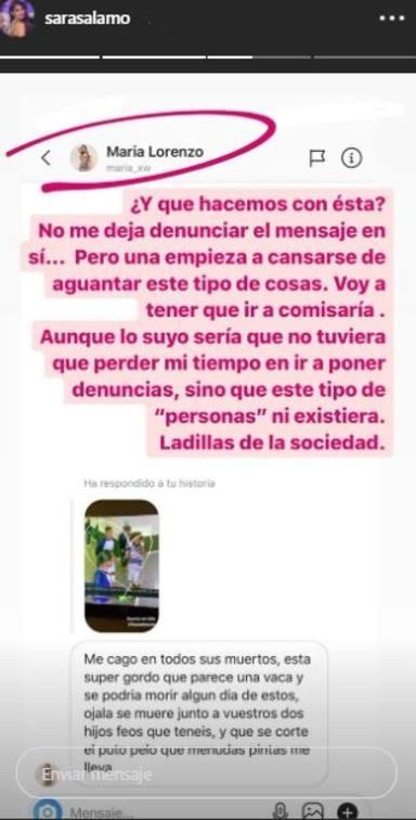 Denuncia Sara Sálamo Instagram amenazas Isco Alarcón