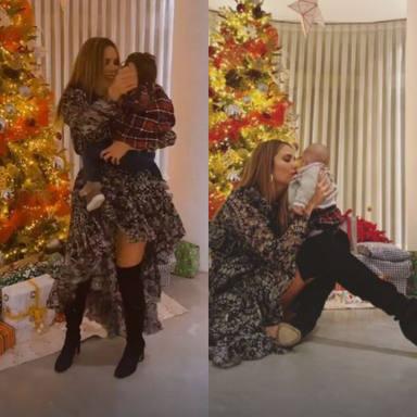 Rosanna Zanetti con Matteo y Bianca en su primera Navidad juntos