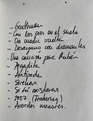 Lista de canciones del nuevo disco de Cepeda