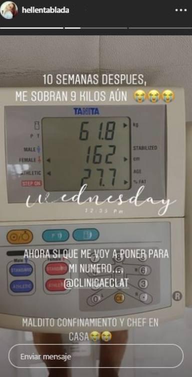 El peso exacto de Elena Tablada dos meses después de su parto