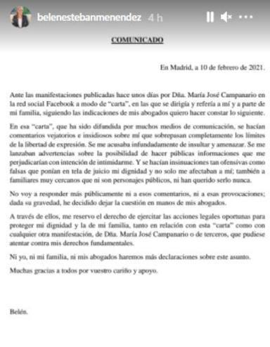 Comunicado Belén Esteban frena guerra con Campanario