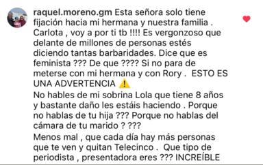 La hermana de Olga Moreno traspasa una línea roja y amenaza gravemente a Carlota Corredera: Voy a por ti