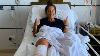Anabel Pantoja muestra el resultado de su operación de peroné