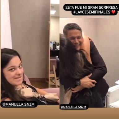 Sorpresa de Manuela a su padre Alejandro Sanz en los camerinos de La Voz