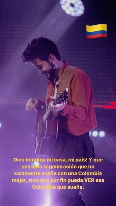 El emotivo mensaje de Camilo tras actuar en los Premios Nuestra Tierra 2021