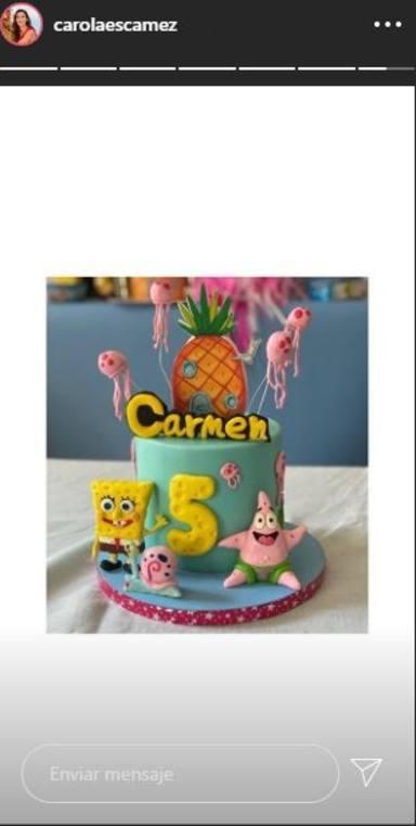 Carola Escámez le ha preparado esta tarta de Bob Esponja a su hija por su quinto cumpleaños