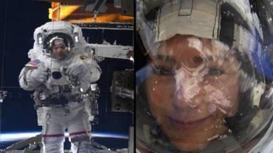 L'astronauta Jessica Meir es fa un 'selfie' des de l'espai