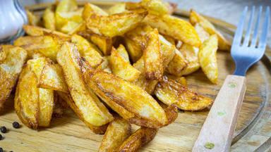 Peligro patatas fritas doradas