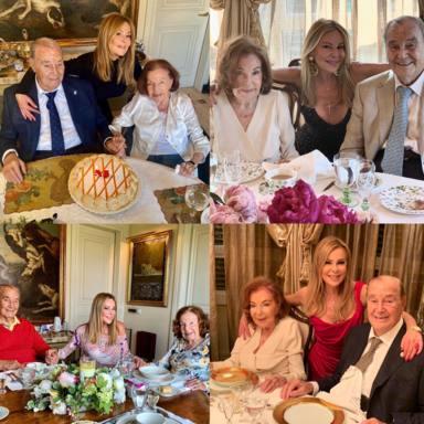 Collage con varias imágenes de Ana Obregón junto a sus padres