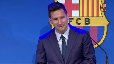 Leo Messi no puede contener el llanto en su despedida del Barcelona tras 21 años en el club culé