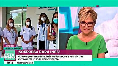 Inés Ballester se emociona en directo con las sanitarias