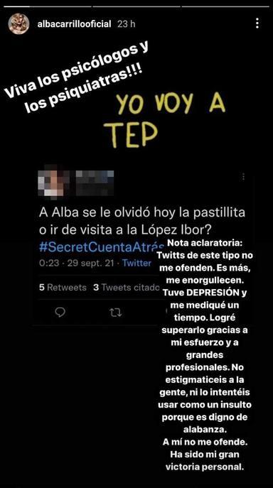 Alba Carrillo vuelve a hablar de su salud mental en sus stories de Instagram