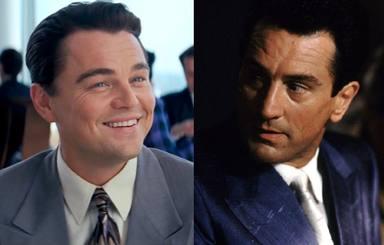 Leonardo DiCaprio en 'El lobo de Wall Street' y Robert De Niro en 'Uno de los nuestros'