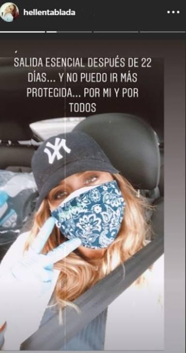 Elena Tablada, muy protegida con todas las medidas de prevención frente al Covid-19