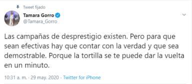 Tamara Gorro escribe un tweet en defensa de Ezequiel Garay