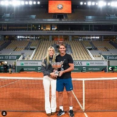 Rafa Nadal y su hermana Maribel en Roland Garros