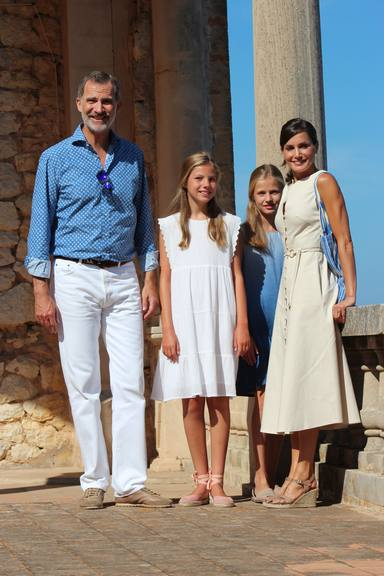 Spanish King Felipe VI and Queen Letizia with Princess Leonor and Infant Sofia de Borbon during visit Casa Museo Son Marroig in Palma de Mallorca, 08 August 2019.