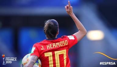 Jennifer Hermoso celebra un gol en el Mundial femenino de Francia 2019
