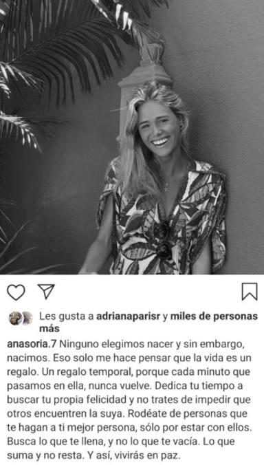 Ana Soria publica su último mensaje en redes sociales