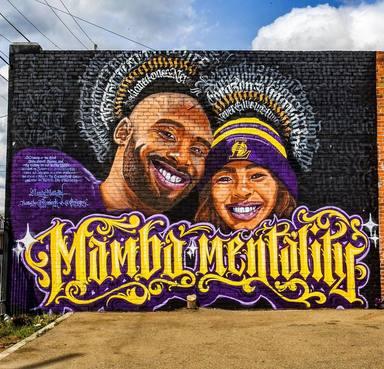 Mural de Kobe Bryant junto a su hija Gigi