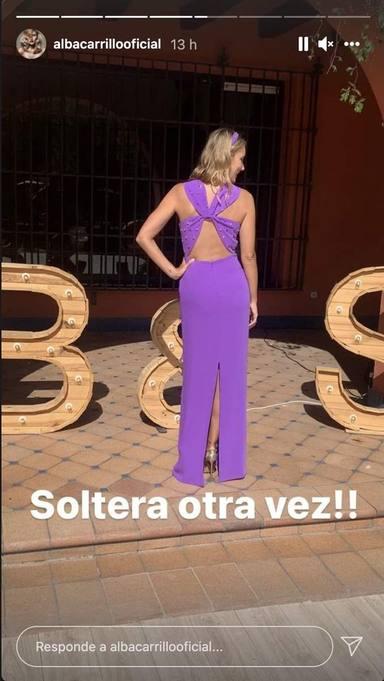 Alba Carrillo confiesa su soltería con esta imagen en su cuenta de Instagram con una frase que no deja dudas