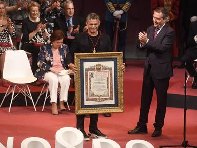The singer Alejandro Sanz receives the gold medal of the city of Seville that names him as an adopted son, Thursday, May 30, 2019