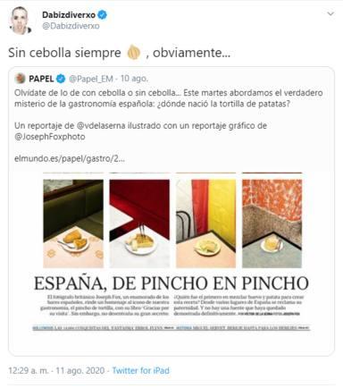 Twitter: Dabiz Muñoz tortilla de patatas sin cebolla