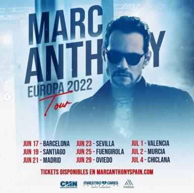 Así ha reprogramado Marc Anthony su gira por España trasladando fechas al año 2022