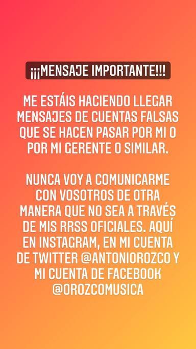A Antonio Orozco le han usurpado la identidad en las redes sociales: Se hacen pasar por mí