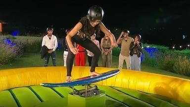 La casa fuerte: Maite Galdeano surfea en el concurso