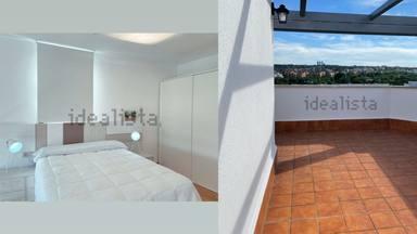 El dormitorio y la terraza con los que cuenta el inmueble
