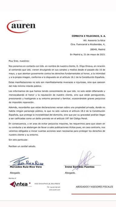 Este es el escrito que las abogadas de Iñigo Onieva le han hecho llegar a Telecinco