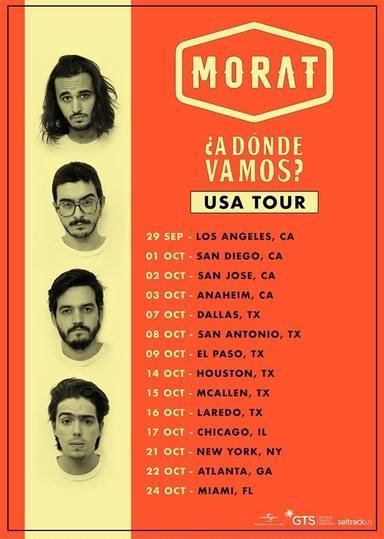Cartel con las fechas de la gira de Morat por Estados Unidos con su ¿A dónde vamos? Tour