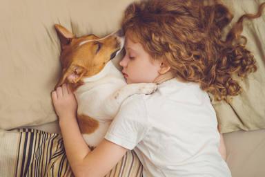Niña durmiendo con su perro