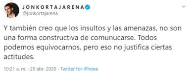 Las criticas a Jon Kortajarena