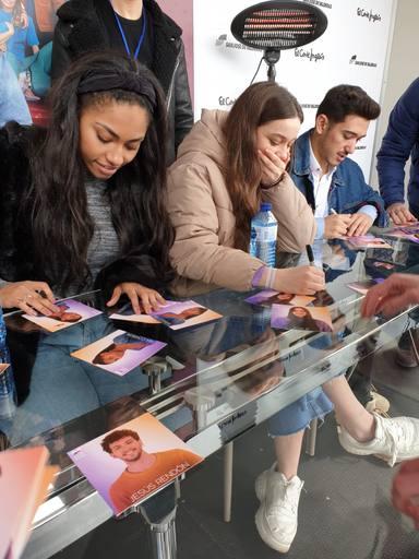 Nia, Eva, Bruno y Jesús en las firmas de discos
