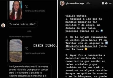 Así anunciaba Gloria Camila que se había visto en la obligación de denunciar ante la policía
