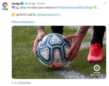 La Liga aplaude el gesto de Rubén García el 8M