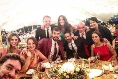 Marc Gasol y Cristina Blesa en la boda de Sergio Llul