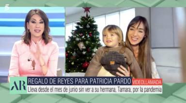 Patricia Pardo emocionada por la video llamada de su hermana