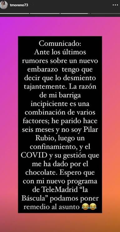 El comunicado en el que Toñi Moreno desmiente su embarazo