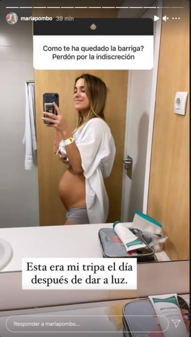 María Pombo enseña la tripa después del parto