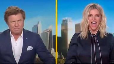 Los presentadores de Weekend Today con Chris Hemsworth